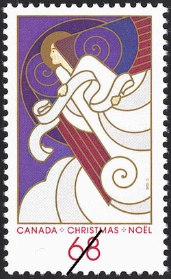 Angel With Scroll Canada Postage Stamp | Christmas, Angels
