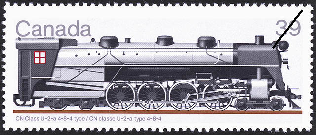 CN Class U-2-a 4-8-4 Type Canada Postage Stamp | Canadian Locomotives, 1925-1945