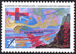 Radisson and Des Groseilliers Canada Postage Stamp | Exploration of Canada, Investigators