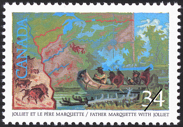 Father Marquette with Jolliet Canada Postage Stamp | Exploration of Canada, Investigators