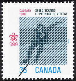 Speed Skating, Calgary, 1988  Postage Stamp