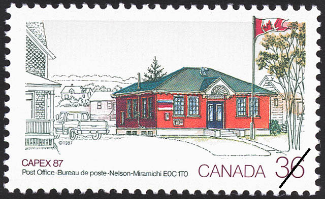 Post Office, Nelson-Miramichi, E0C 1T0 Canada Postage Stamp