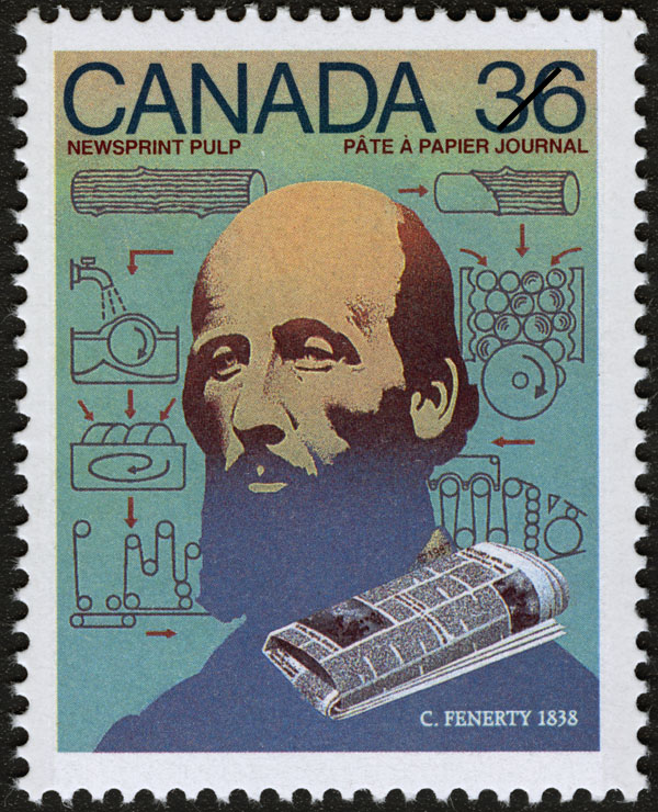 Newsprint Pulp, C. Fenerty, 1838 Canada Postage Stamp | Canada Day - Science and Technology, Canadian Innovations in Communications