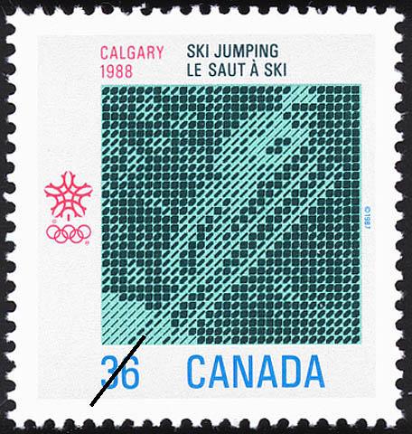 Ski Jumping, Calgary, 1988 Canada Postage Stamp