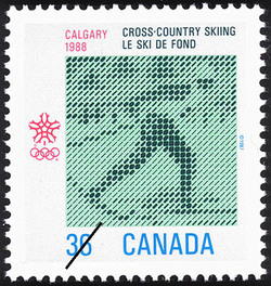 Cross-Country Skiing, Calgary, 1988  Postage Stamp