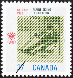 Alpine Skiing, Calgary, 1988 Canada Postage Stamp | 1988 Olympic Winter Games