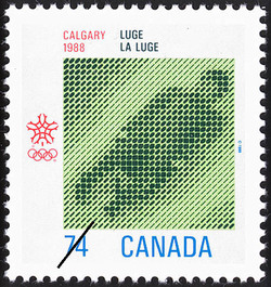 Luge, Calgary, 1988 Canada Postage Stamp | 1988 Olympic Winter Games