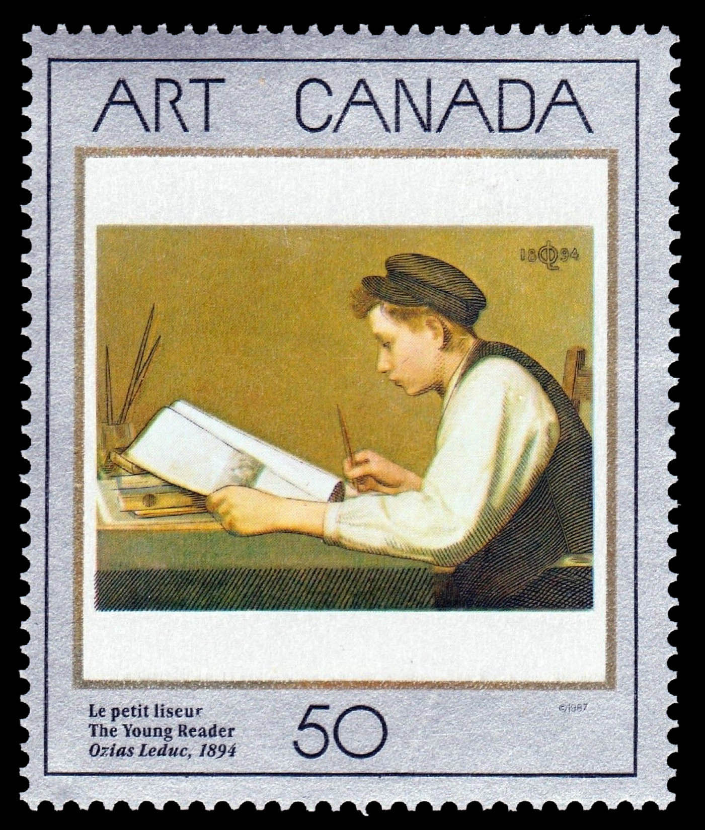 The Young Reader, Ozias Leduc, 1894 Canada Postage Stamp