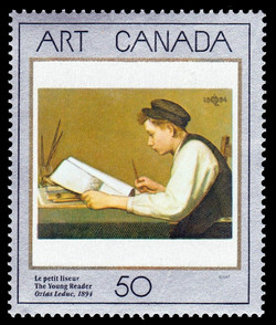 The Young Reader, Ozias Leduc, 1894 Canada Postage Stamp | Masterpieces of Canadian Art