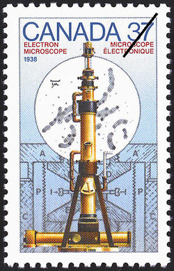 Electron Microscope, 1938 Canada Postage Stamp | Canada Day - Science and Technology, Canadian Innovations in Energy, Food, Research and Medicine
