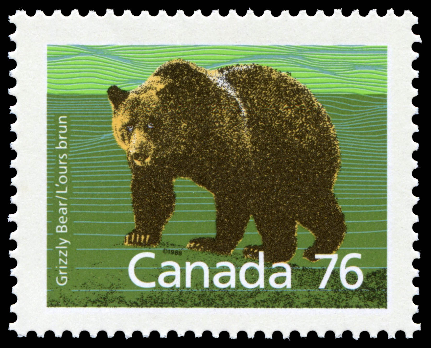 Grizzly Bear Canada Postage Stamp