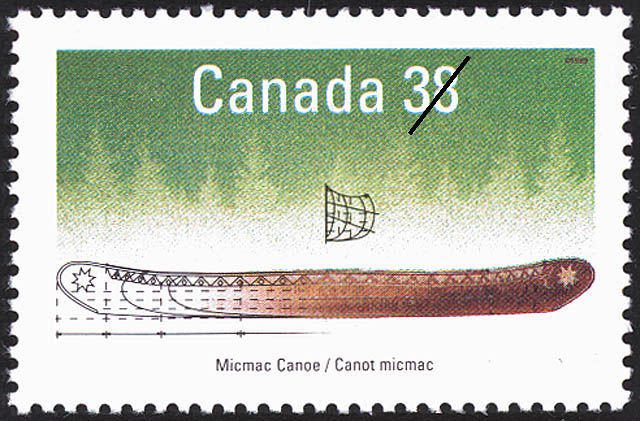 Micmac Canoe Canada Postage Stamp