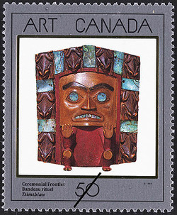 Ceremonial Frontlet, Tsimshian Canada Postage Stamp | Masterpieces of Canadian Art