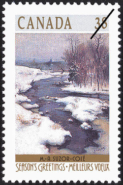 M.-A. Suzor-Cote, Bend in the GosseRiver, Arthabaska Canada Postage Stamp | Christmas, Winter Landscapes