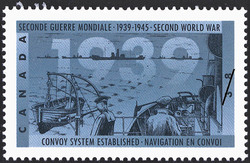 Convoy System established Canada Postage Stamp | The Second World War, 1939, Reluctantly at War Again