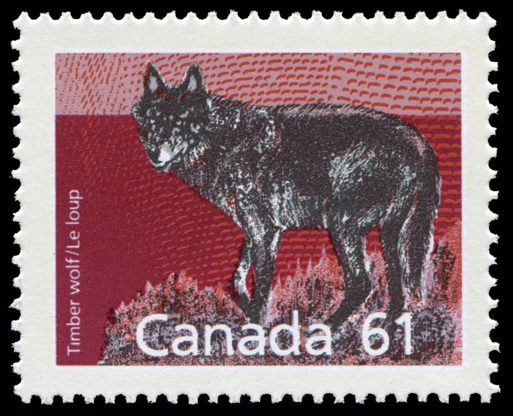 Timber Wolf Canada Postage Stamp