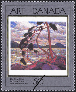 The West Wind, Tom Thomson, 1917 Canada Postage Stamp | Masterpieces of Canadian Art