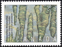 Stromatolites, Fossil Algae, Precambrian Eon Canada Postage Stamp | Prehistoric Life in Canada, The Age of Primitive Life