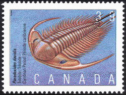 Paradoxides davidis, Trilobite, Cambrian Period Canada Postage Stamp | Prehistoric Life in Canada, The Age of Primitive Life
