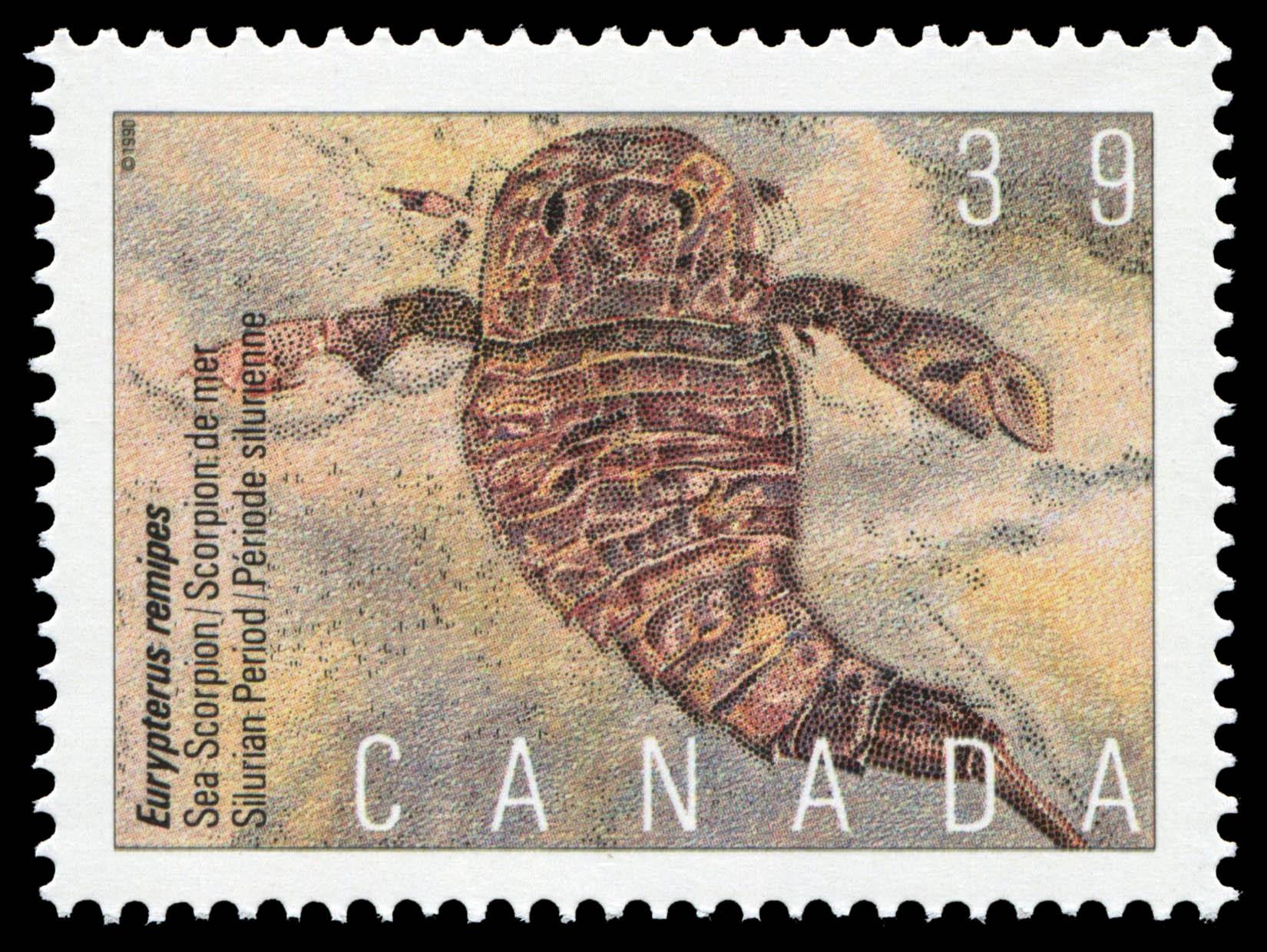 Eurypterus remipes, Sea Scorpion, Silurian Period Canada Postage Stamp | Prehistoric Life in Canada, The Age of Primitive Life