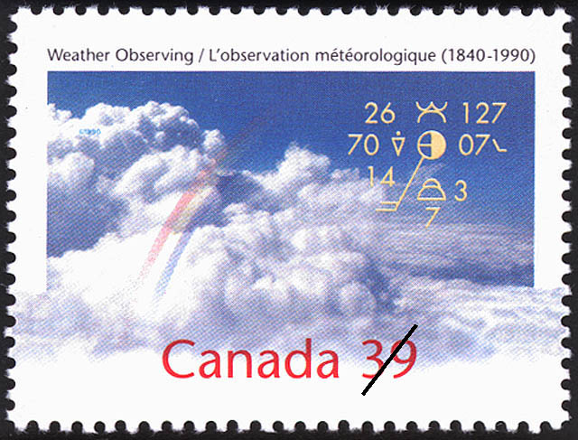 Weather Observing, 1840-1990 Canada Postage Stamp