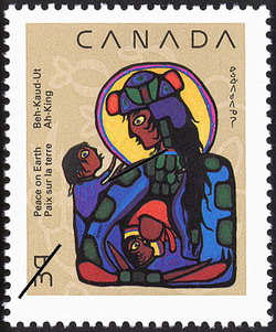 Virgin Mary with Christ Child and St. John the Baptist Canada Postage Stamp   Christmas, Native Nativity