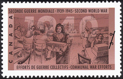 Communal War Efforts Canada Postage Stamp | The Second World War, 1940, Canada Mobilizes Its Resources