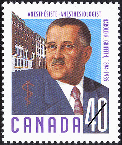 Harold R. Griffith, 1894-1985, Anesthesiologist Canada Postage Stamp