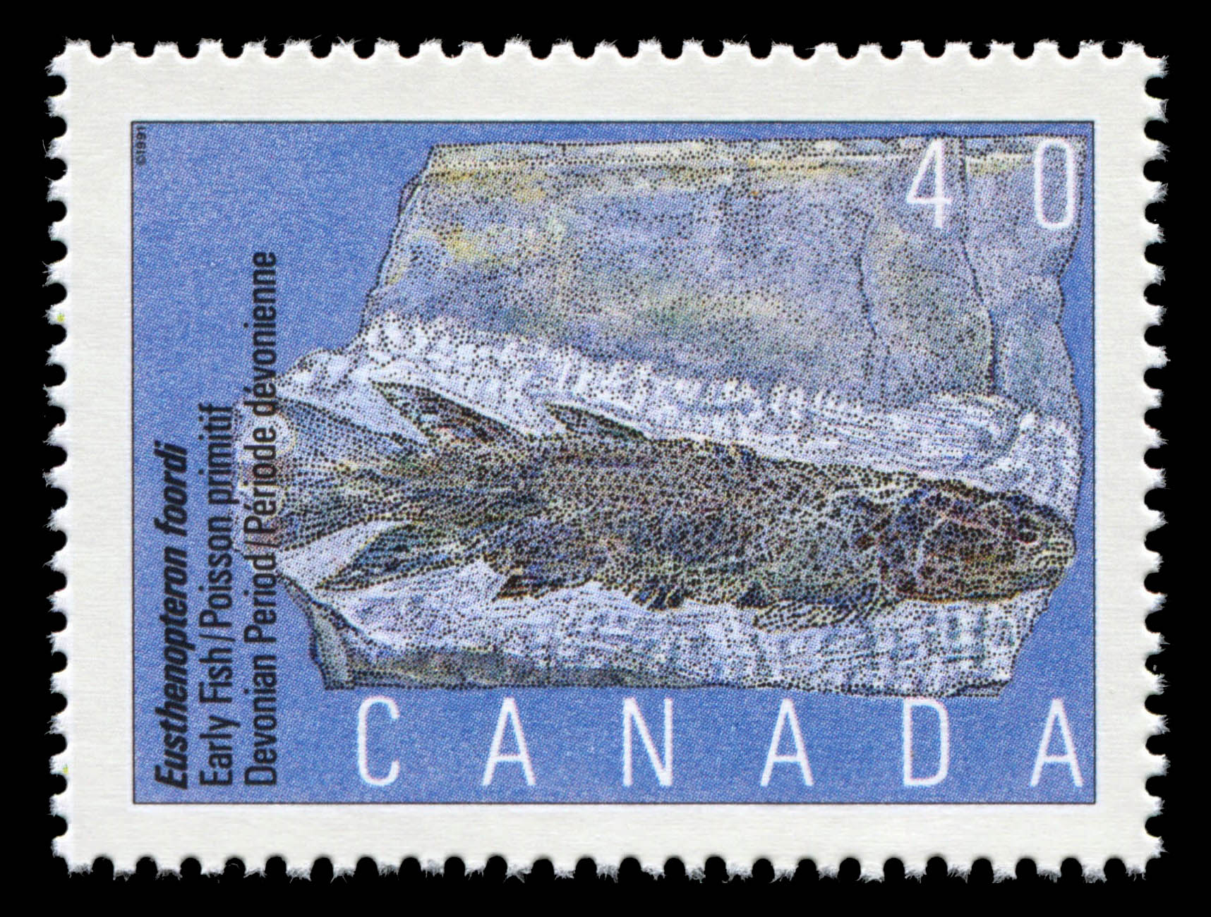 Eusthenopteron foordi, Early Fish, Devonian Period Canada Postage Stamp | Prehistoric Life in Canada, The Age of Primitive Vertebrates