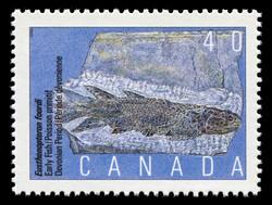 Eusthenopteron foordi, Early Fish, Devonian Period Canada Postage Stamp | Prehistoric Life in Canada, The Age of Primitive Vertebrates