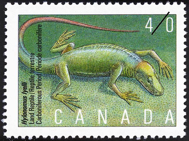 Hylonomus lyelli, Land Reptile, Carboniferous Period Canada Postage Stamp | Prehistoric Life in Canada, The Age of Primitive Vertebrates