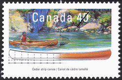 Cedar Strip Canoe  Postage Stamp