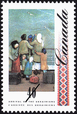 Group of Emigrants on the Deck of a Ship Canada Postage Stamp | Arrival of the Ukrainians