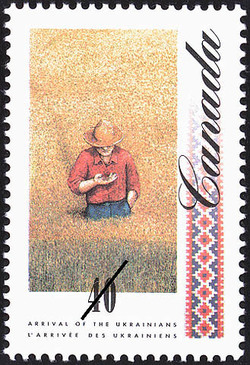 Farmer in a Lush Field of Wheat  Postage Stamp