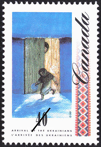 Barefoot Girl going out to beg for Food Canada Postage Stamp | Arrival of the Ukrainians