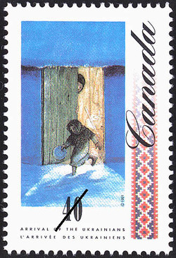 Barefoot Girl going out to beg for Food Canada Postage Stamp