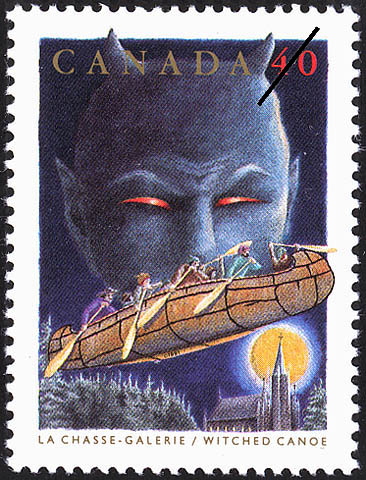 Witched Canoe Canada Postage Stamp