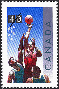 Basketball, 1891-1991  Postage Stamp