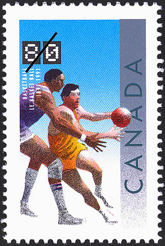 Basketball, 1891-1991 Canada Postage Stamp