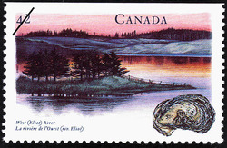 West (Eliot) River Canada Postage Stamp | Canada's River Heritage, Waterways of Industry and Commerce
