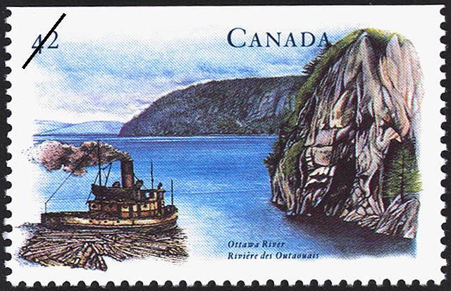 Ottawa River Canada Postage Stamp | Canada's River Heritage, Waterways of Industry and Commerce