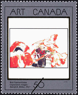 Red Nasturtiums, David B. Milne, 1937 Canada Postage Stamp | Masterpieces of Canadian Art