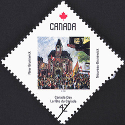 New Brunswick, Crowd at City Hall Canada Postage Stamp | Canada Day