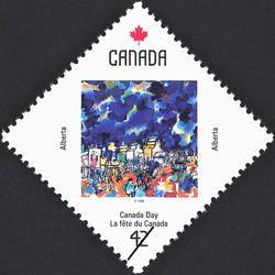 Alberta, Across the Tracks to Shop Canada Postage Stamp | Canada Day
