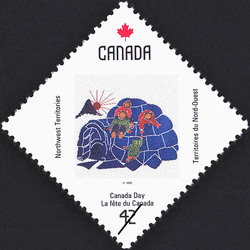 Northwest Territories, Playing on an Igloo Canada Postage Stamp | Canada Day