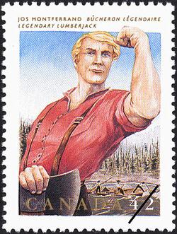 Jos Montferrand, Legendary Lumberjack Canada Postage Stamp | Folklore, Legendary Heroes
