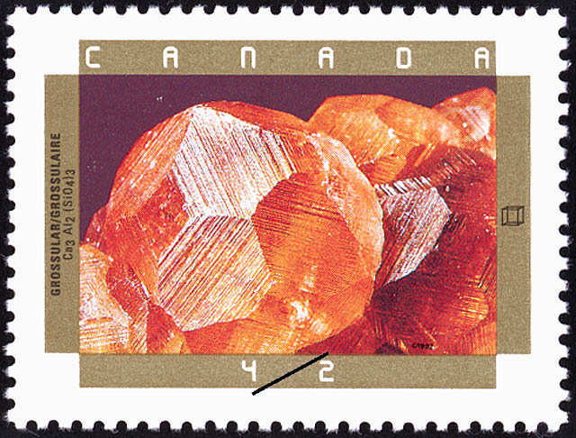 Grossular Canada Postage Stamp | Canadian Minerals
