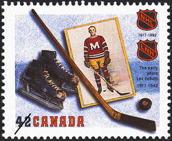 The Early Years, 1917-1942 Canada Postage Stamp | The National Hockey League, 1917-1992