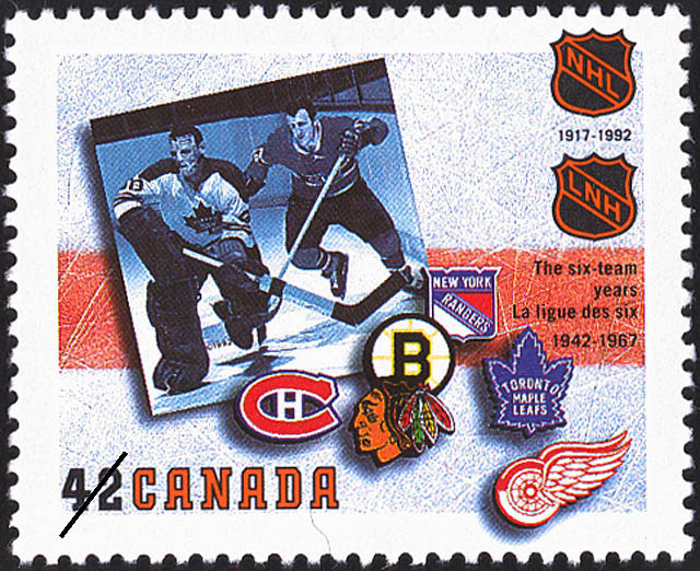 The Six-Team Years, 1942-1967 Canada Postage Stamp | The National Hockey League, 1917-1992