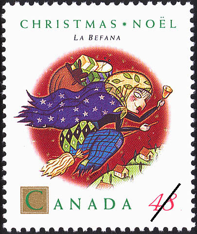 La Befana Canada Postage Stamp | Christmas, Christmas Personages